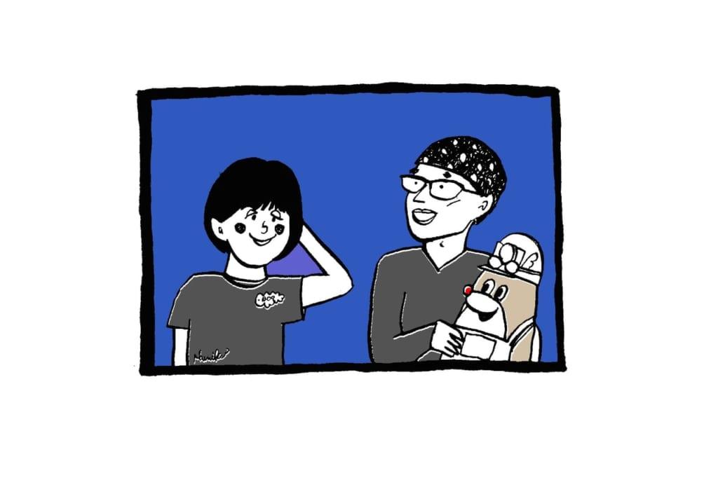 アナウンサーの石澤さん、操演者の友松さん、山田さんとのトーク